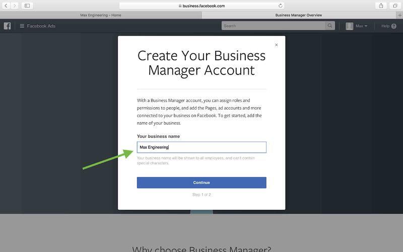 how to create company facebook account