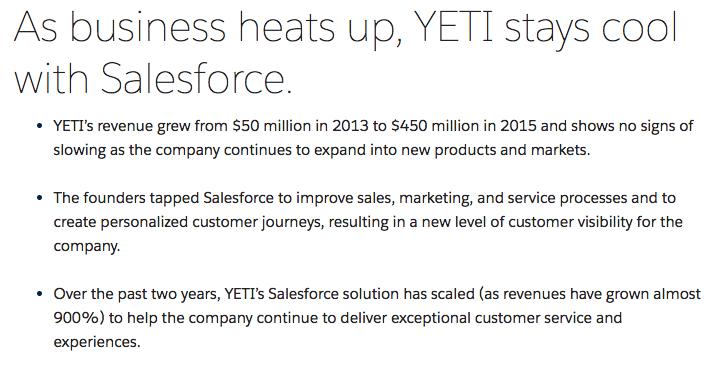 Salesforce's YETI case study