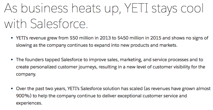Salesforce's YETI case study