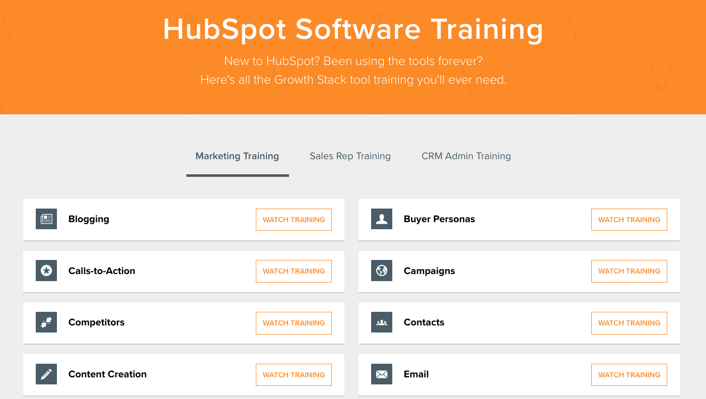 HubSpot Software Training Menu