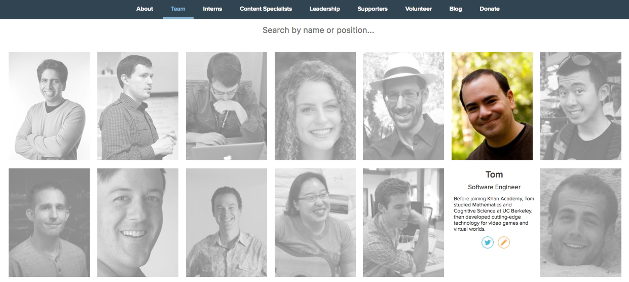 Example of a teams page.