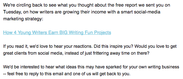 Example of a follow-up email.