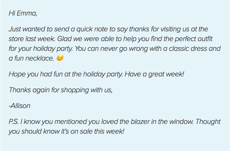 Example of a personalized thank you note.