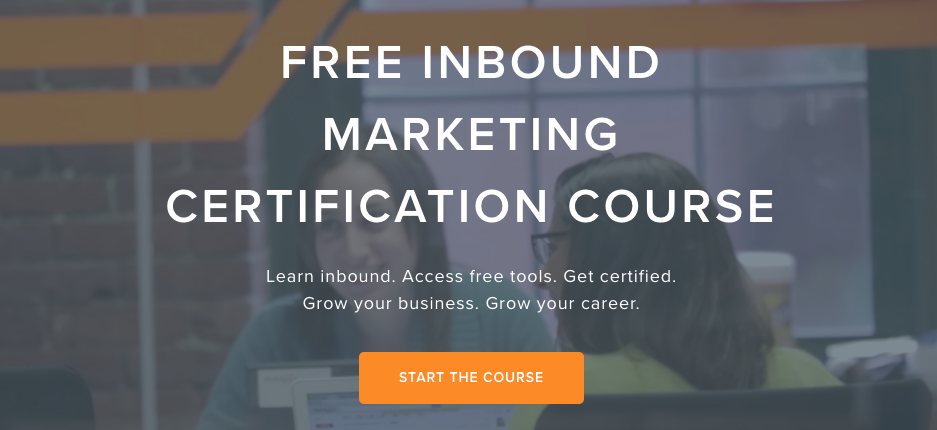 Homepage for free inbound marketing certification course.