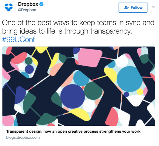 Example of a social media post from Dropbox.
