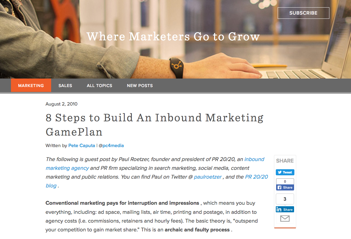 Example of a blog post from Hubspot.