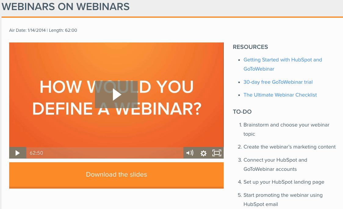 Example of a webinar from Hubspot