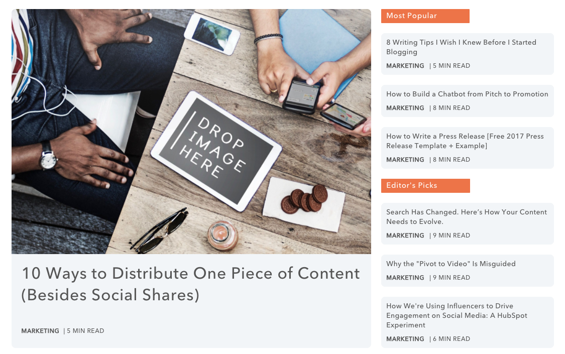 Example of inbound marketing from the Hubspot Marketing Blog.