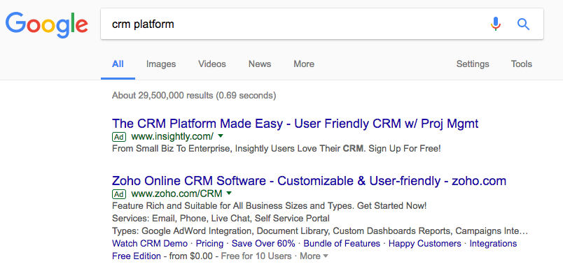 Example of Pay-Per-Click Advertisements on a Google search engine results list.