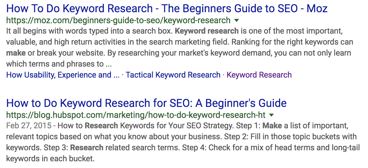 Example of similar pieces of content from competitors.