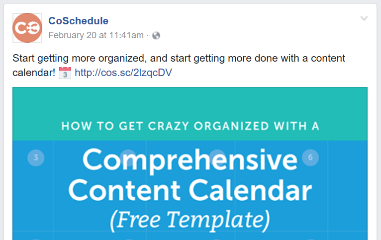 A CoSchedule Facebook post regarding a  content calendar