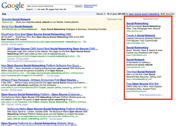 Old Google Search Results with Sidebar Ads